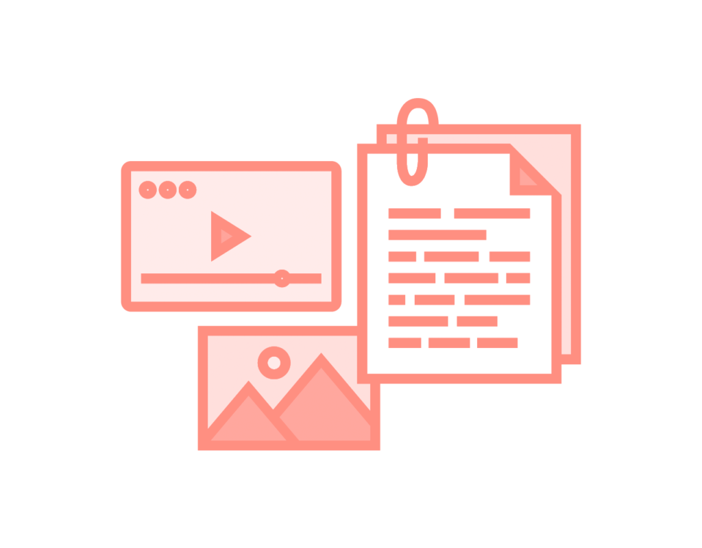 Content Strategy icon showing different digital outlets and content pieces