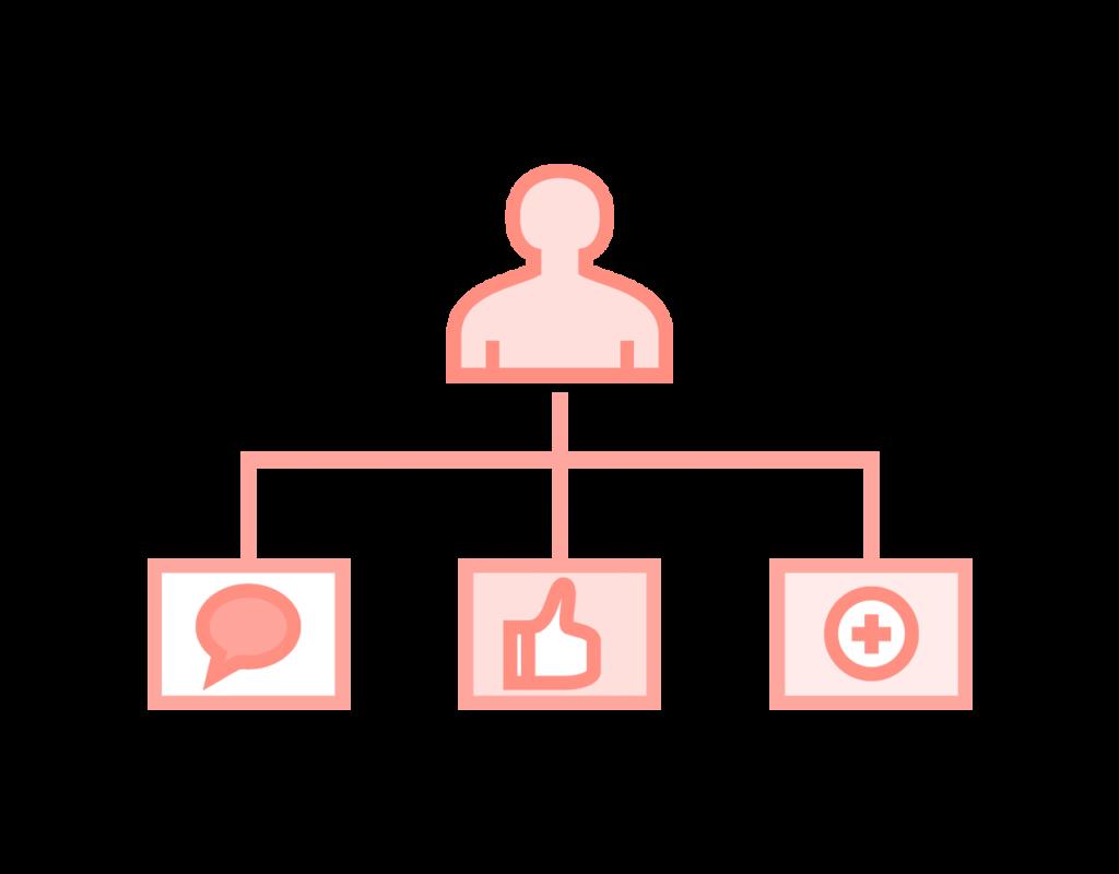 Social Media Marketing icon showing social connection through social media platforms