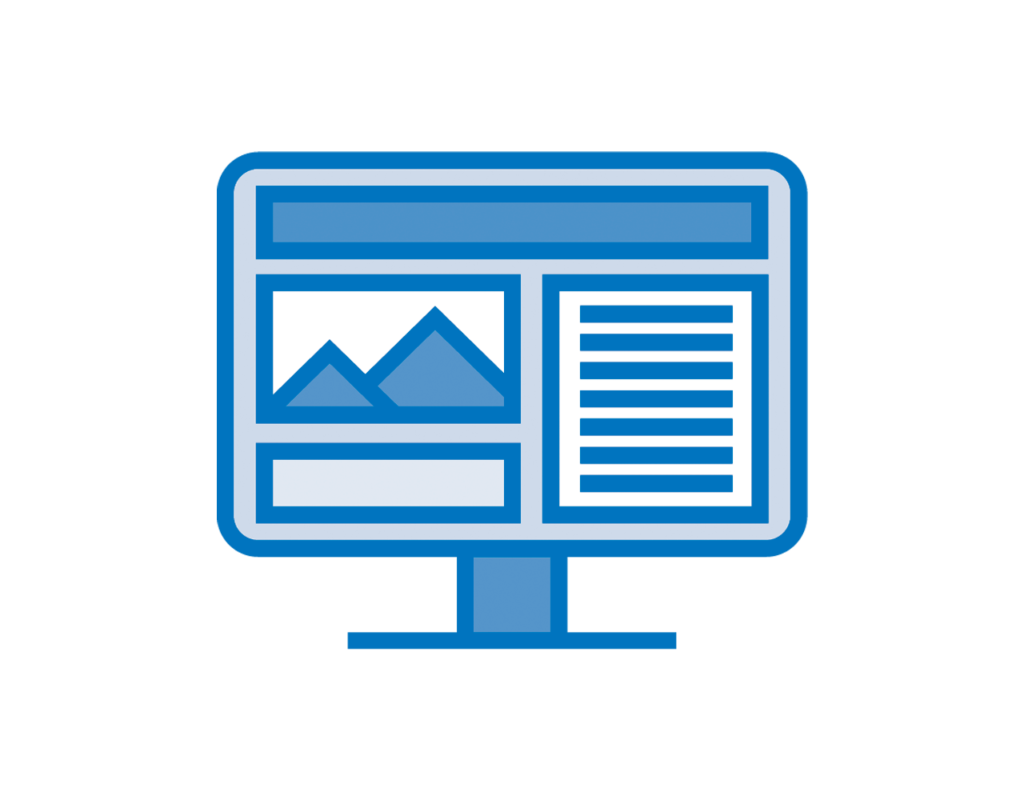Website Design & Maintenance icon showing a website on a computer